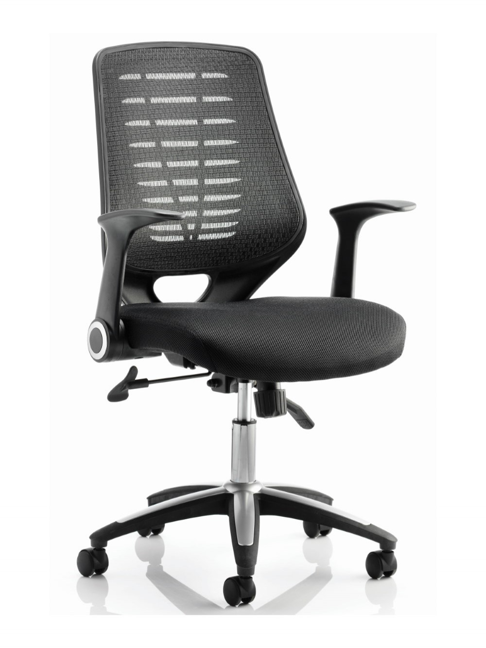 Picture of: Office Chairs Relay Black Mesh Office Chair W Fabric Seat 121 Office Furniture