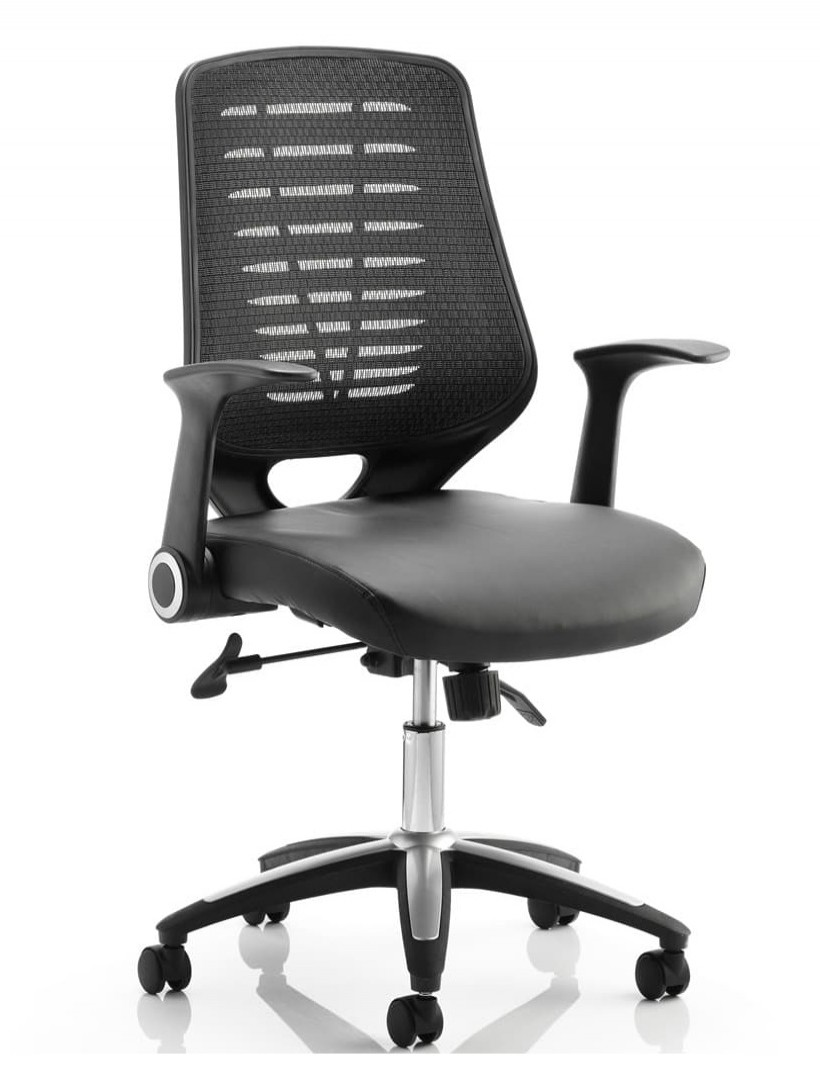 Office Chairs - Relay Black Mesh Office Chair w/ Leather Seat Pad