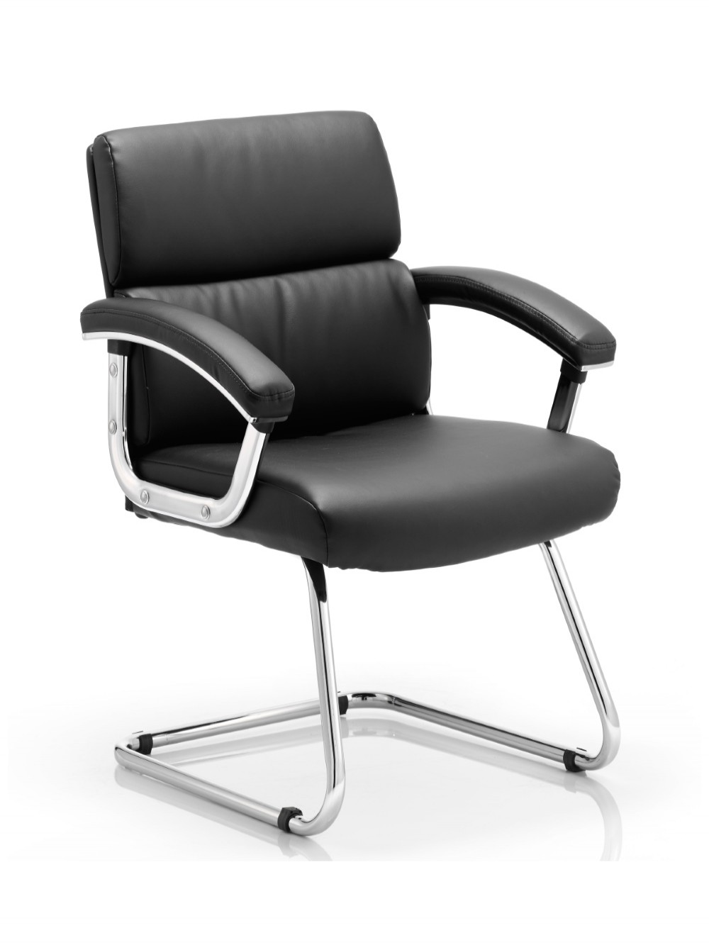 Dynamic Desire Bonded Leather Cantilever Visitor Chairs in Black