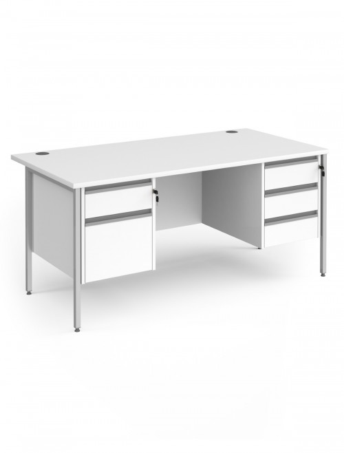 White Office Desk Contract 25 Desk with 2 and 3 Drawer Pedestal H-Frame 1600mm x 800mm