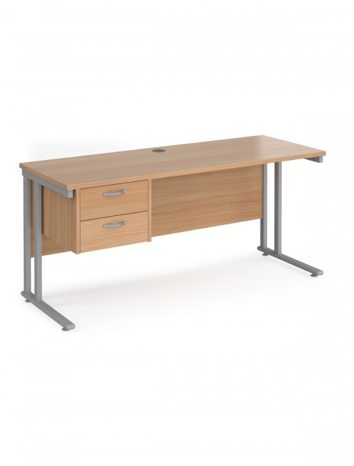 Beech Office Desk Maestro 25 Narrow Desk with 2 Drawer Pedestal Cantilever 1600mm x 600mm