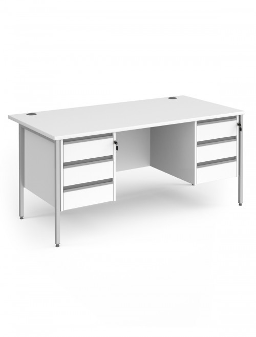 White Office Desk Contract 25 Desk with 2x 3 Drawer Pedestal H-Frame 1600mm x 800mm