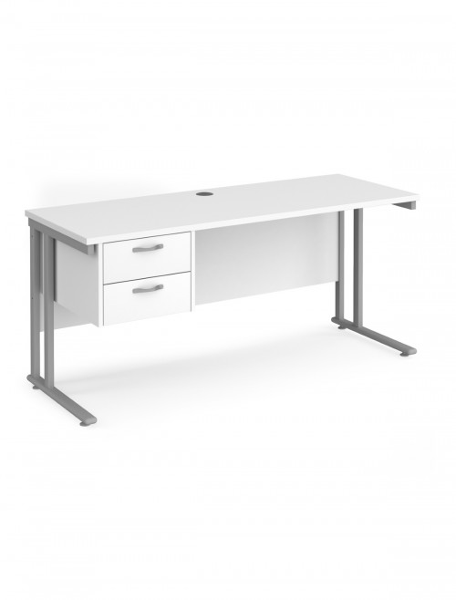 White Office Desk Maestro 25 Narrow Desk with 2 Drawer Pedestal Cantilever 1600mm x 600mm