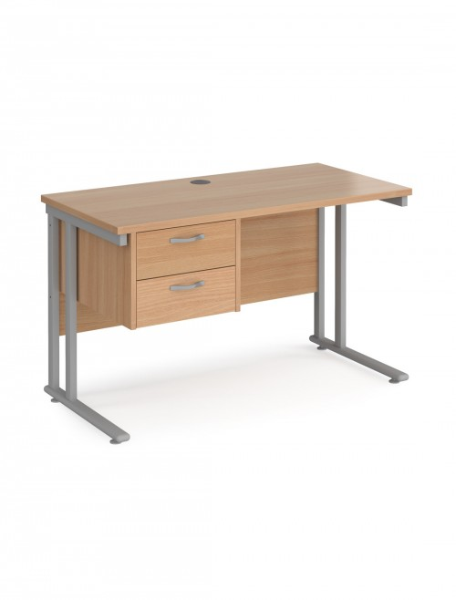 Beech Office Desk Maestro 25 Narrow Desk with 2 Drawer Pedestal Cantilever 1200mm x 600mm