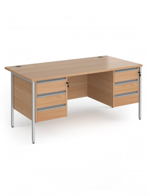 Beech Office Desk Contract 25 Desk with 2x 3 Drawer Pedestal H-Frame 1600mm x 800mm