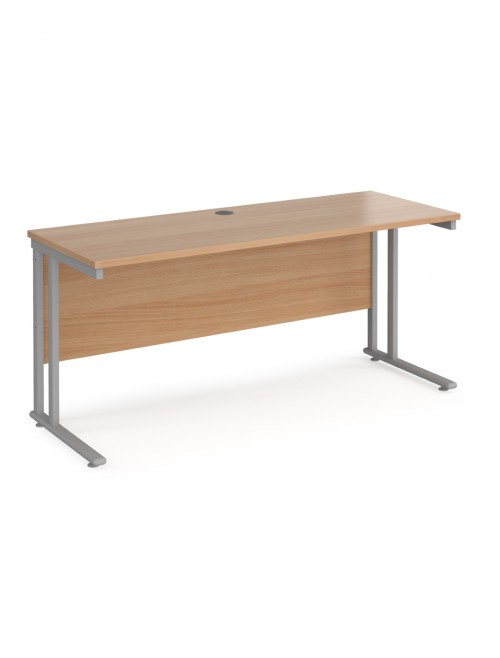 Beech Office Desk Maestro 25 Narrow Desk Cantilever 1600mm x 600mm