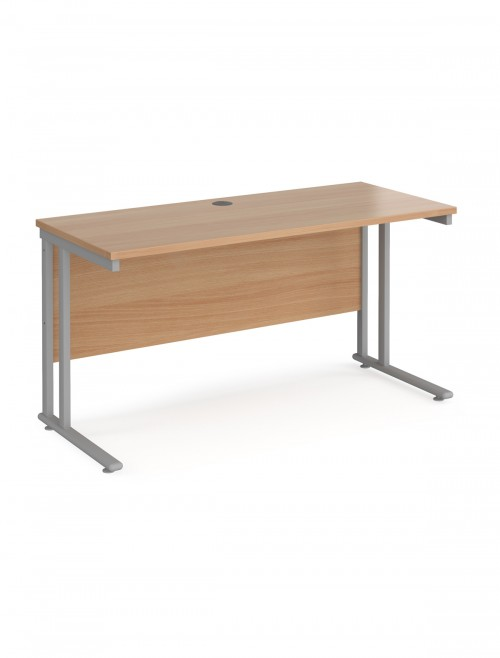 Beech Office Desk Maestro 25 Narrow Desk Cantilever 1400mm x 600mm