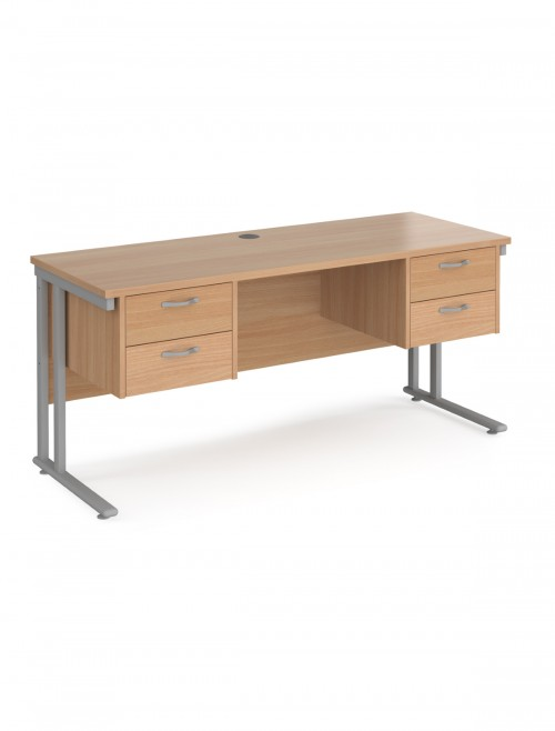Beech Office Desk Maestro 25 Narrow Desk with 2x 2 Drawer Pedestal Cantilever 1600mm x 600mm