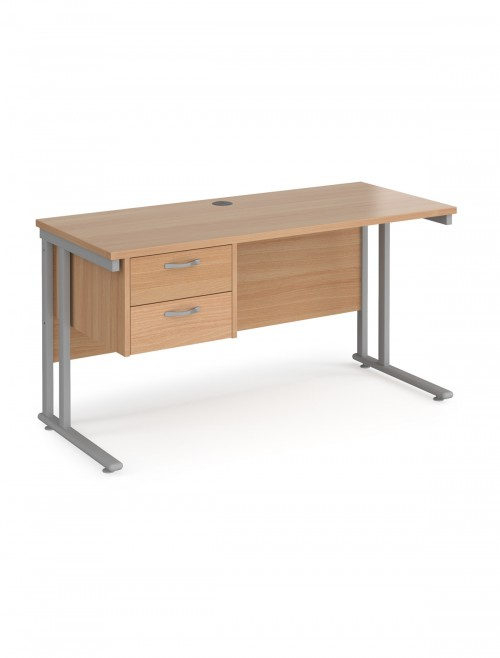 Beech Office Desk Maestro 25 Narrow Desk with 2 Drawer Pedestal Cantilever 1400mm x 600mm