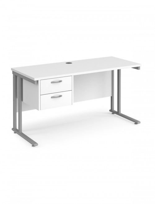 White Office Desk Maestro 25 Narrow Desk with 2 Drawer Pedestal Cantilever 1400mm x 600mm