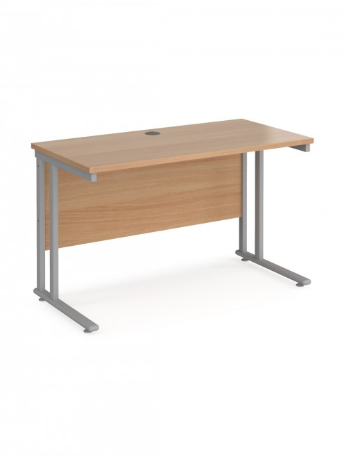 Beech Office Desk Maestro 25 Narrow Desk Cantilever 1200mm x 600mm