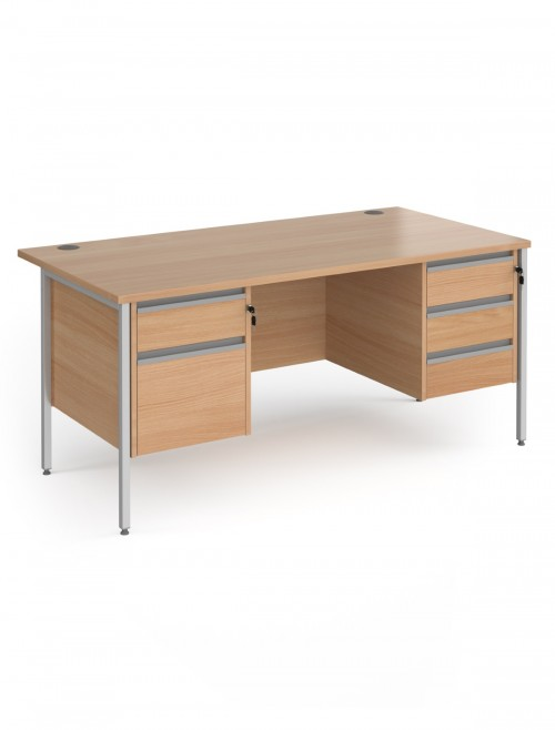 Beech Office Desk Contract 25 Desk with 2 and 3 Drawer Pedestal H-Frame 1600mm x 800mm