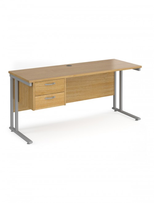 Oak Office Desk Maestro 25 Narrow Desk with 2 Drawer Pedestal Cantilever 1600mm x 600mm