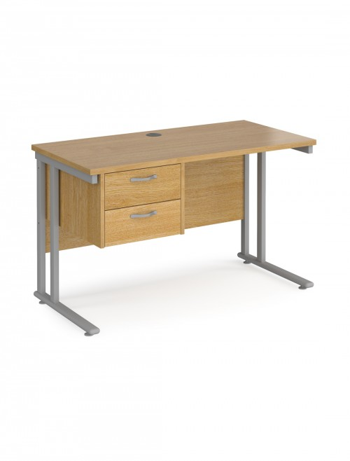 Oak Office Desk Maestro 25 Narrow Desk with 2 Drawer Pedestal Cantilever 1200mm x 600mm