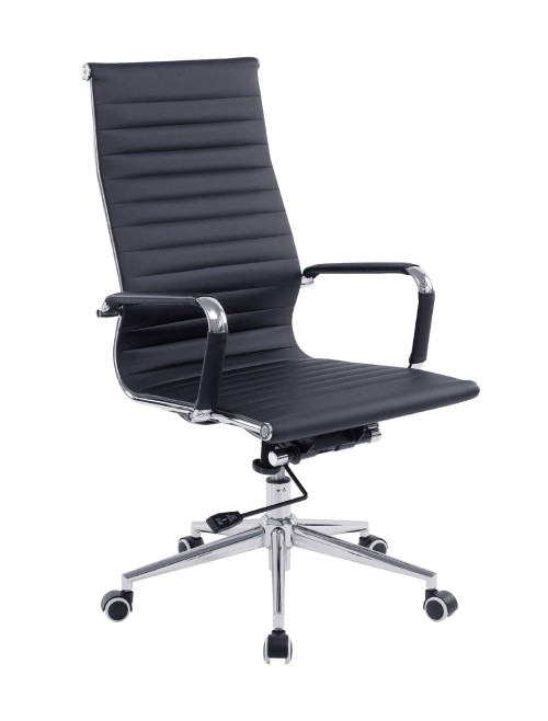 Bonded Leather Office Chair Black Aura High Back BCL/9003/BK by Eliza Tinsley