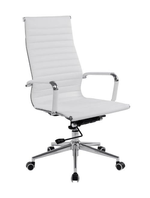 Bonded Leather Office Chair White Aura High Back BCL/9003/WH by Eliza Tinsley