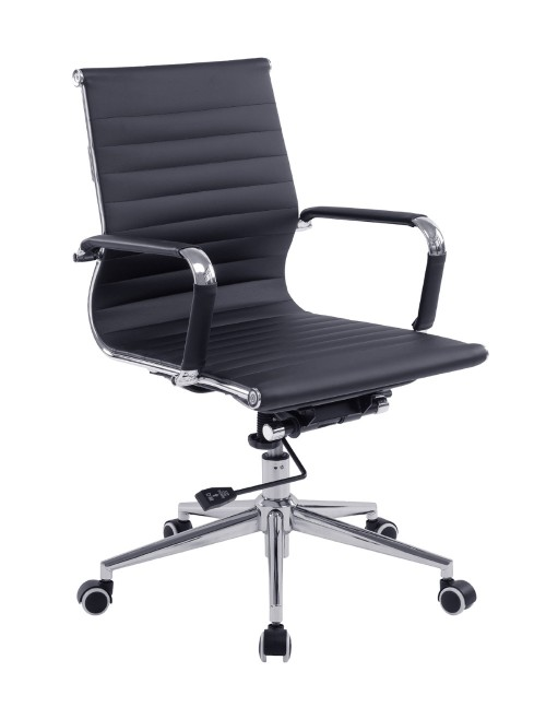 Bonded Leather Office Chair Black Aura Medium Back BCL/8003/BK by Eliza Tinsley