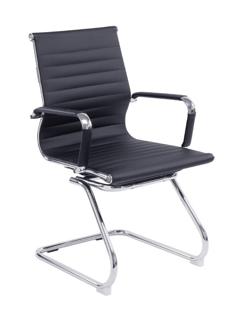 Black Cantilever Visitor Chair Bonded Leather Aura BCL/8003AV/BK by Eliza Tinsley