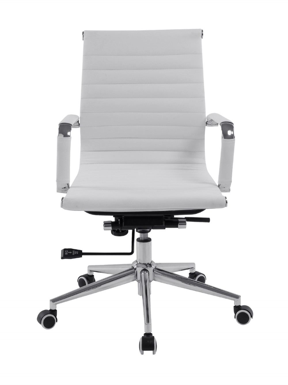 Bonded Leather White Office Chair Aura Medium Back BCL/8003/WH by Eliza Tinsley