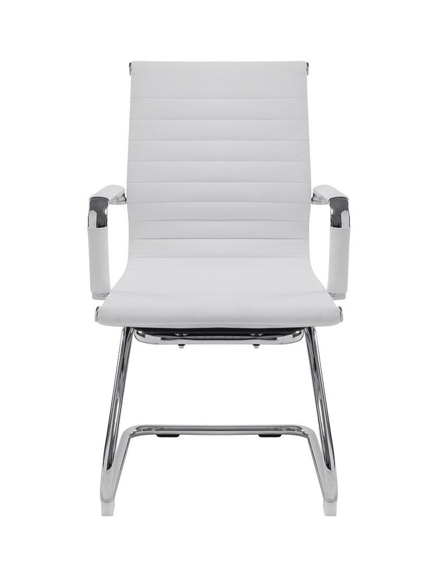 White Cantilever Visitor Chair Bonded Leather Aura BCL/8003AV/WH by Eliza Tinsley