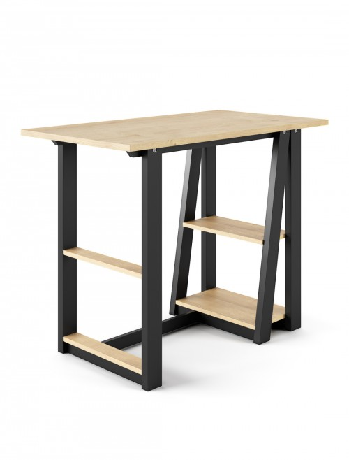 Home Office Desk Oak and Black Penzance Compact Study Desk AW3140 by Alphason