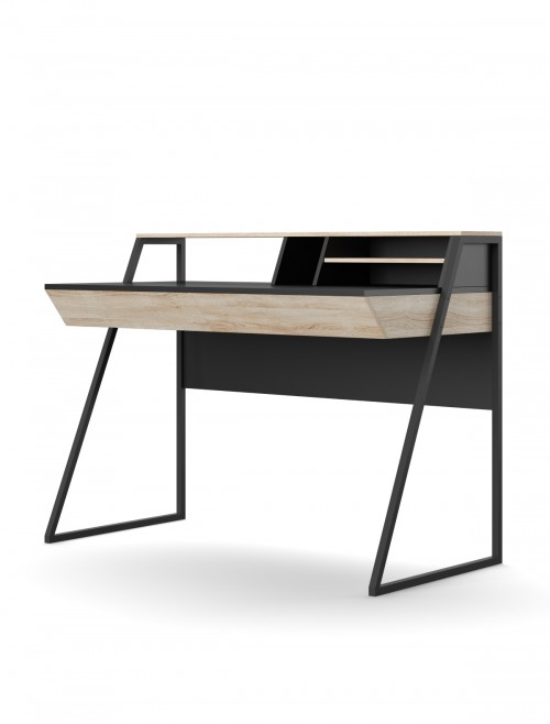 Home Office Desk Oak and Black Salcombe Computer Desk AW3160 by Alphason