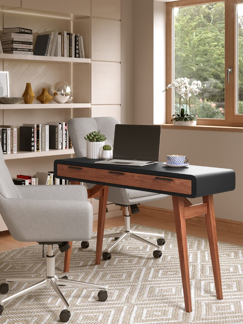 Home Office Desk Grey Truro Study Desk AW3150 by Alphason