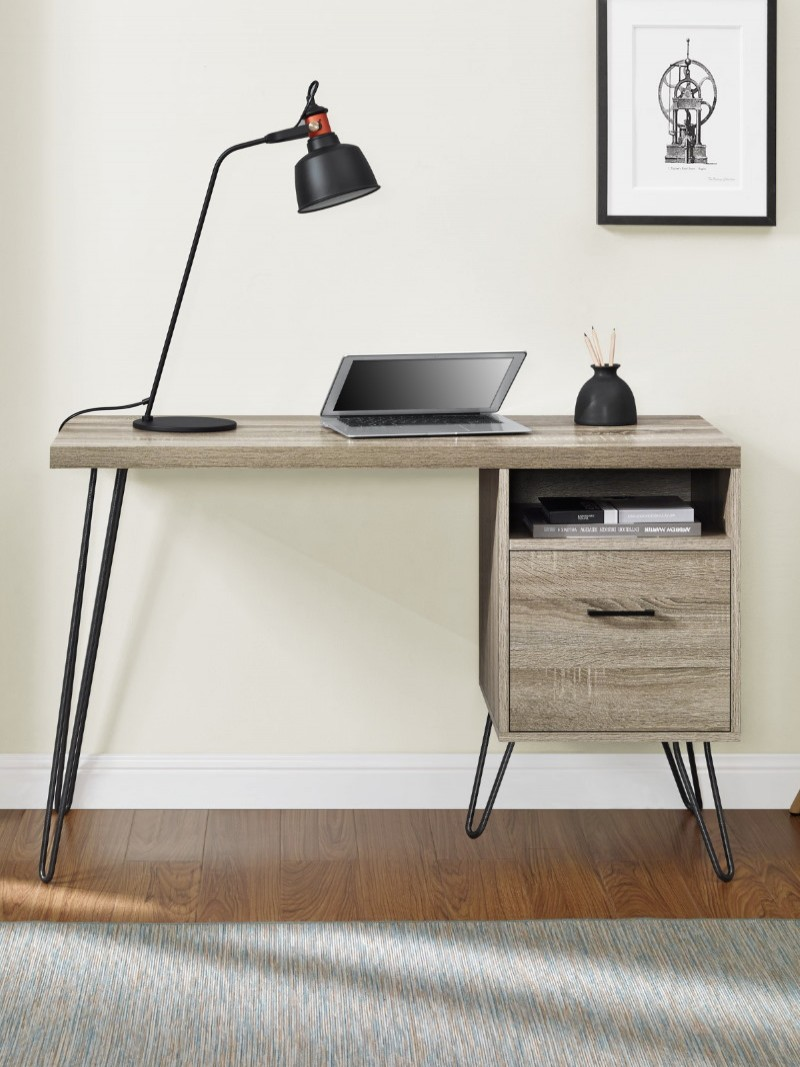 Home Office Desk Grey Oak Landon Computer Desk 9658096PCOMUK by Alphason Dorel