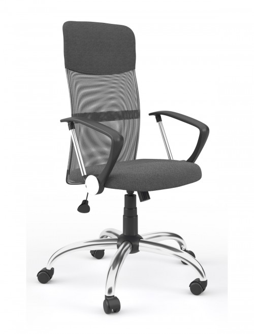 Mesh Office Chair Grey Orlando Computer Chair AOC4087GRY by Alphason
