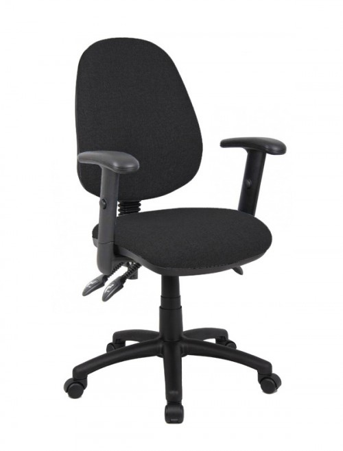 Office Chair Black Vantage 200 Operator Chair with Adjustable Arms V202-00-K by Dams