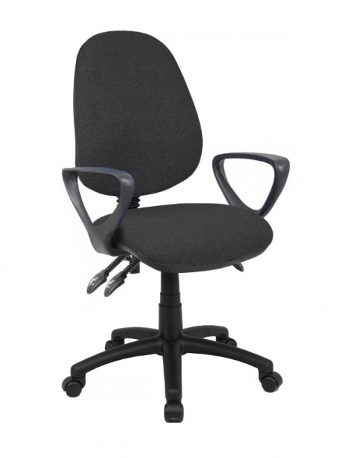 Office Chair Black Vantage 200 Operator Chair with Fixed Arms V201-00-K by Dams