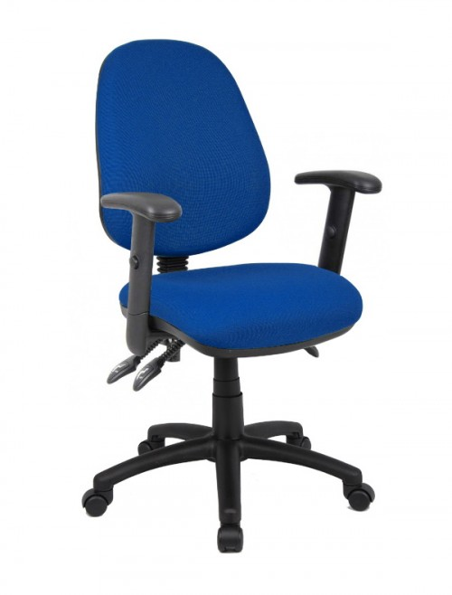 Office Chair Blue Vantage 200 Operator Chair with Adjustable Arms V202-00-B by Dams