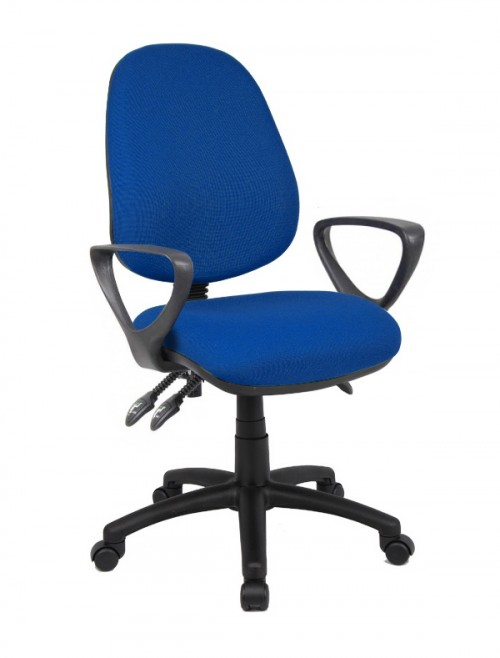 Office Chair Blue Vantage 200 Operator Chair with Fixed Arms V201-00-B by Dams
