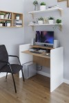 Home Office Desk White and Oak Bagan Home Workstation BAGWS by Dams - enlarged view
