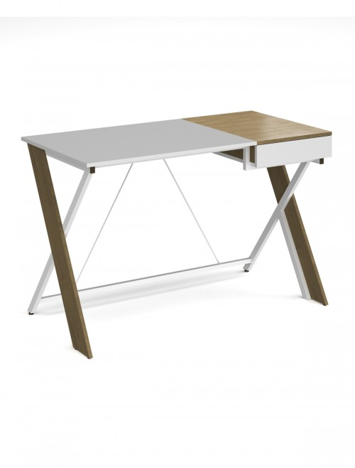 Home Office Desk White and Oak Sidon Home Workstation SIDWS-WH by Dams