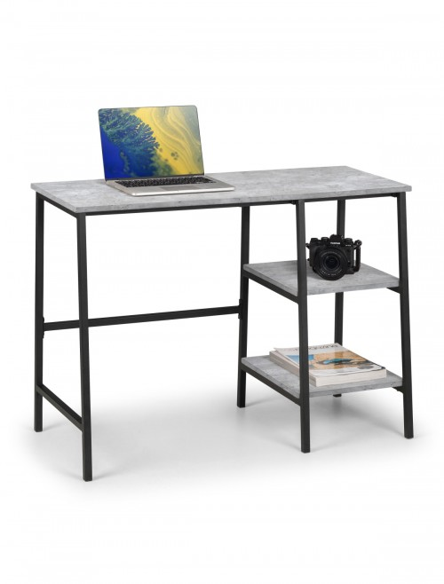 Home Office Desk Concrete Effect Staten Home Workstation STA212 by Julian Bowen