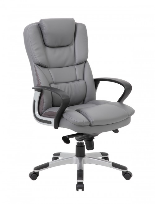 Office Chair Grey Faux Leather Palermo Executive Chair PAL300K2-G by Dams