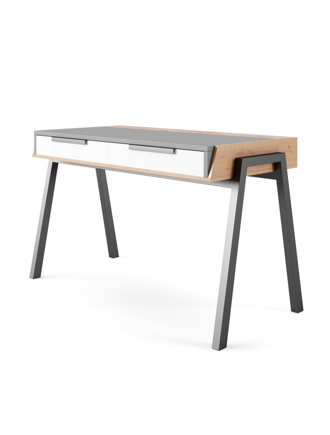 Home Office Desk Grey and Walnut Geneva Computer Desk AW3608 by Alphason Dorel