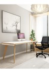 Home Office Desk White and Wood Oslo 1600mm Bench Desk OSS16WHT by Dynamic - enlarged view