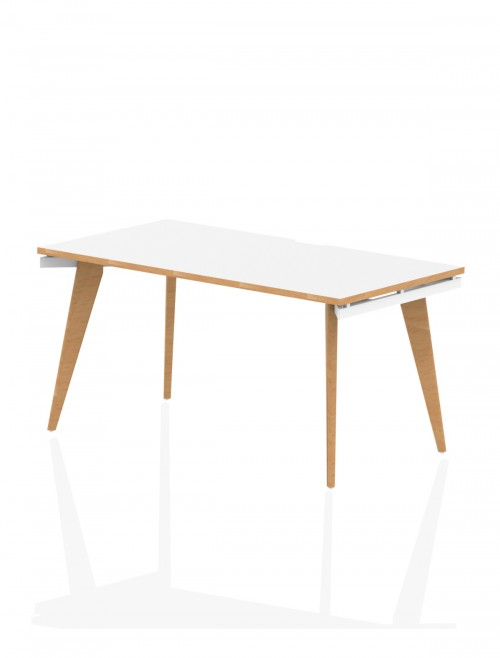 Home Office Desk White and Wood Oslo 1400mm Bench Desk OSS14WHT by Dynamic