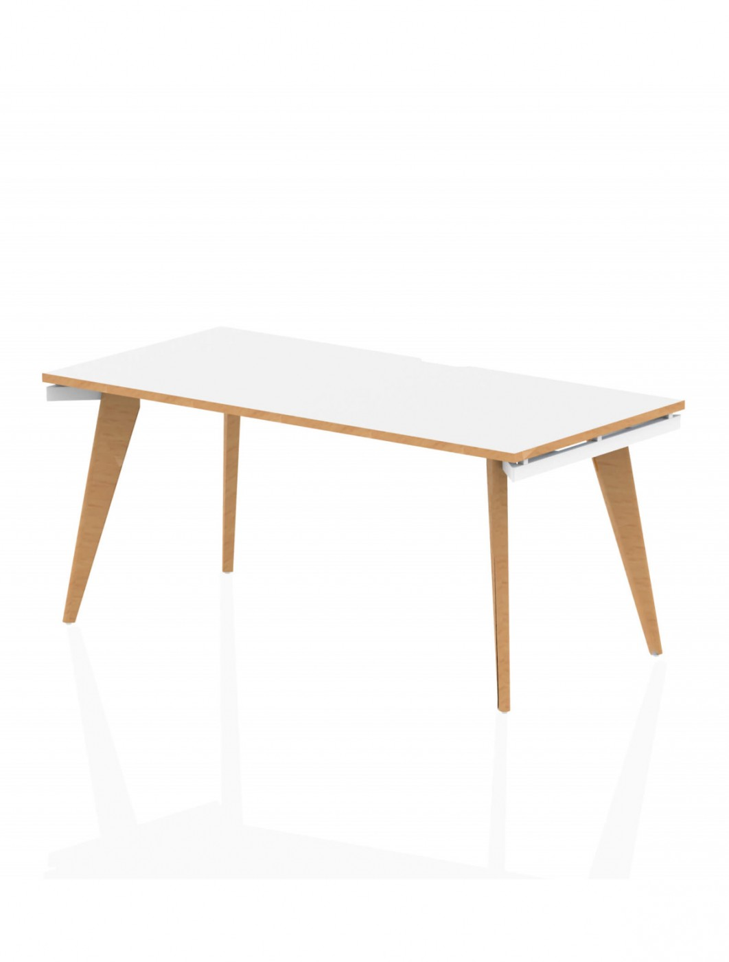 Home Office Desk White and Wood Oslo 1600mm Bench Desk OSS16WHT by Dynamic