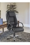 Office Chair Black Leather Faced Dijon Executive Chair 9211ATG/LBK by Eliza Tinsley - enlarged view