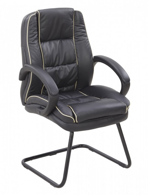 Visitors Chair Black Leather Faced Truro Cantilever Chair 609AV/LBK by Eliza Tinsley