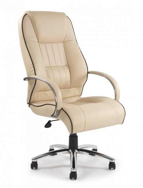 Office Chair Cream Leather Faced Dijon Executive Chair 9211ATG/LCM by Eliza Tinsley