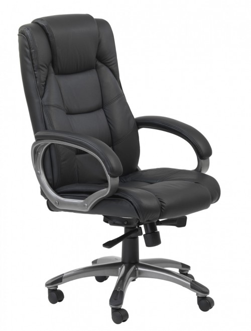 Office Chair Black Leather Faced Northland Executive Chair AOC6332-L-BK by Alphason