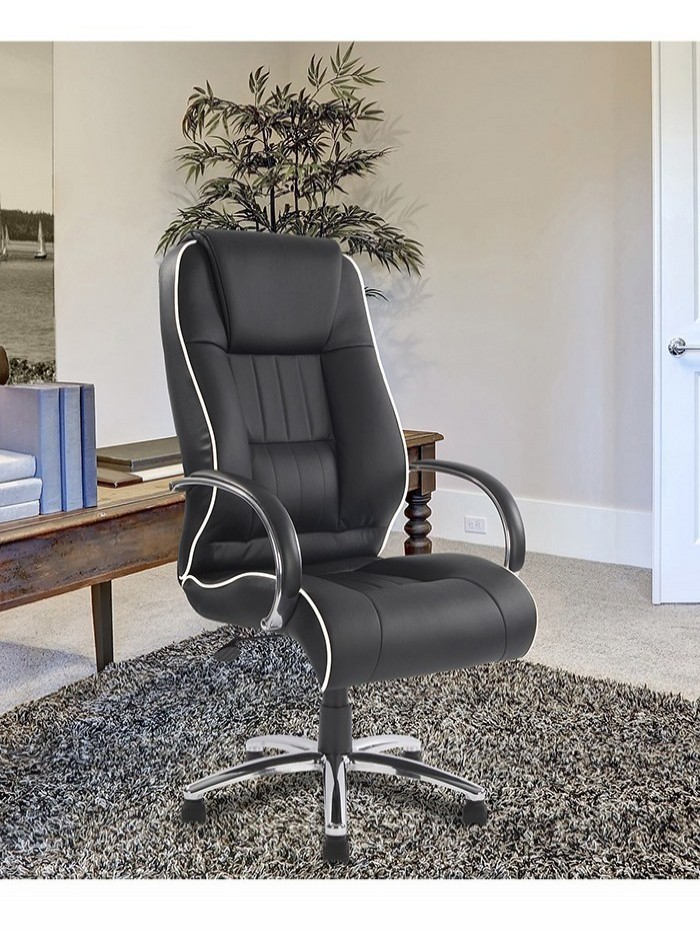 Office Chair Black Leather Faced Dijon Executive Chair 9211ATG/LBK by Eliza Tinsley