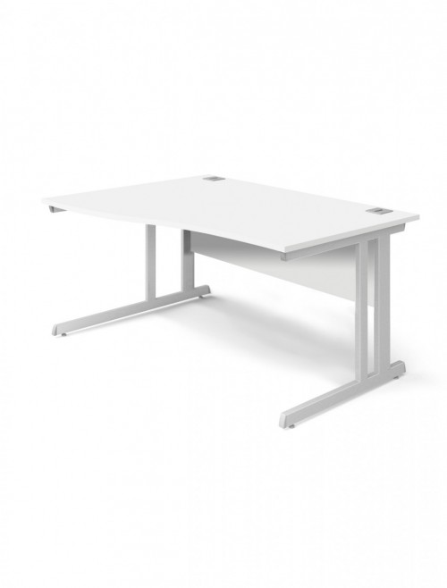 White Office Desk 1400mm Aspire Wave Desk Left Handed ET/WV/1400/L/WH