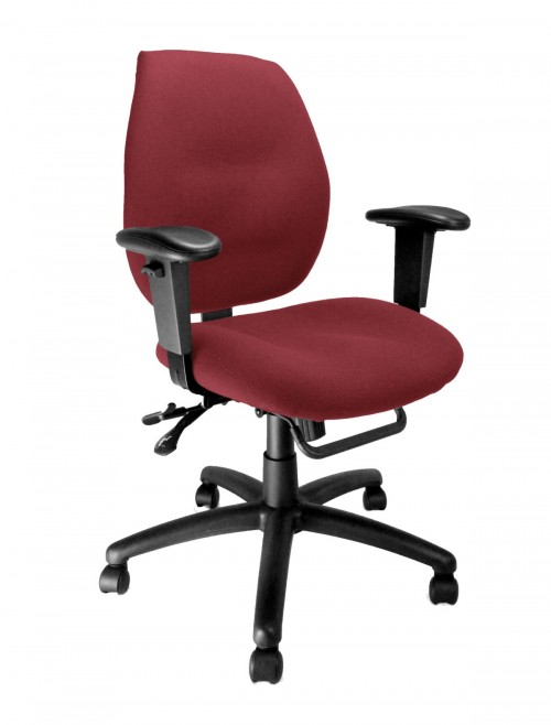 Fabric Office Chair Wine Severn Ergonomic Operator Chair 1435MBSY/AWN by Eliza Tinsley