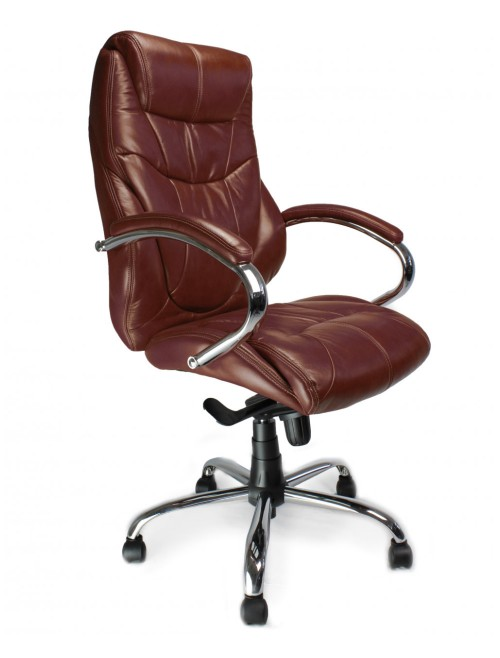 Office Chair Brown Leather Faced Sandown Executive Chair 617KTAG/LBW by Eliza Tinsley