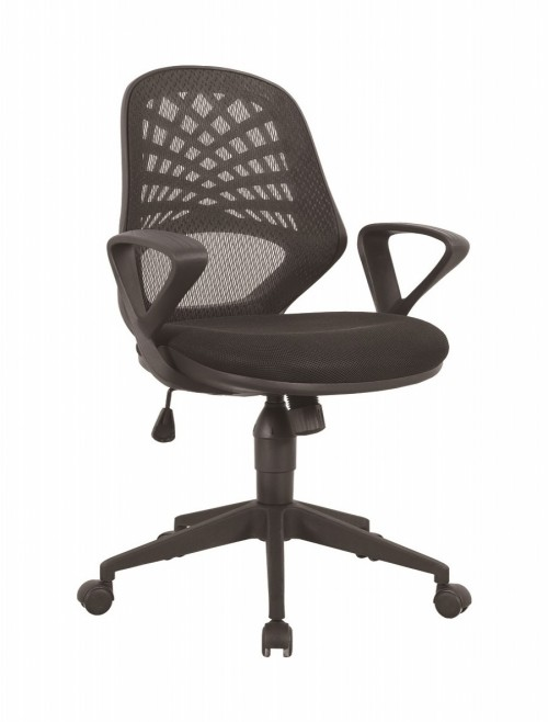 Mesh Office Chair Black Lattice Operators Chair BCM/K116/BK by Eliza Tinsley